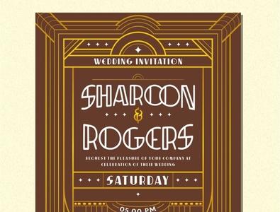 Decorative Wedding Invitation typography wedding art-deco pattern shapess decorative artdeco-font typeface invitation