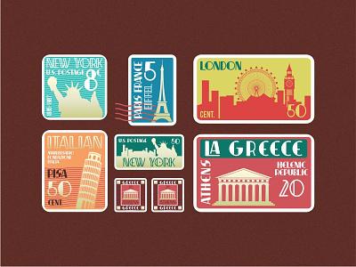International Post Card decorative decorative font artdeco poster art post card typography tickets businesscard post