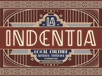 Indentia - Artdeco Typeface typeface pattern decorative font artdeco font vintage typography retro letters geometric font decorative artdeco