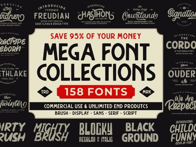 THE MEGA FONT COLLECTIONS new fonts brush fonts font family font design free fonts trend fonts new font fonts commercial use font typography font awesome font collections font pack bundles bundle