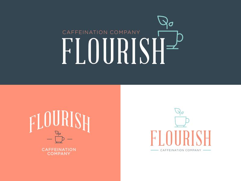 Flourish Logo Mockups identity visual branding logo icon exploration design colors bright brand