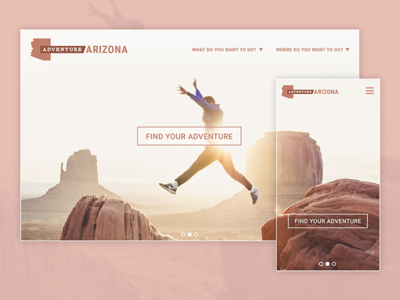 Adventure Arizona mobile desktop ui ux user-experience travel-site popular-destination concept webpage