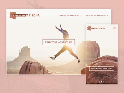 Adventure Arizona mobile desktop ui ux user-experience travel-site popular-destination concept webpage