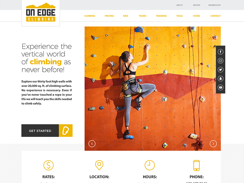 Onedge Climbing Gym minimal gym climbing website ux ui web-design