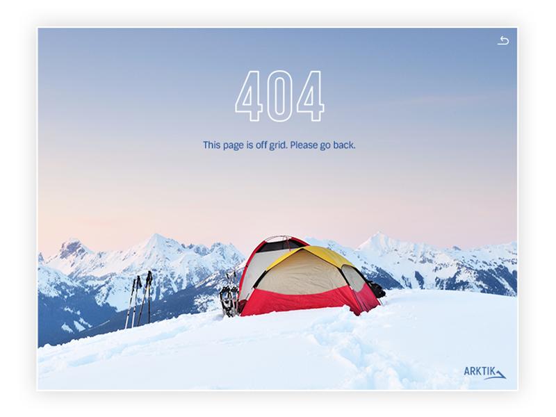 404 Page - Arktik adventure lost ui ux design web 404