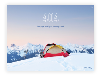 404 Page - Arktik adventure lost ui ux design web 404