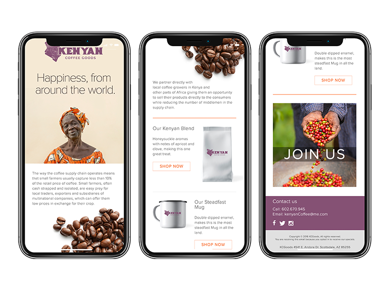 Kenyan Coffee Goods ui ux design iphone coffee concept mockup email