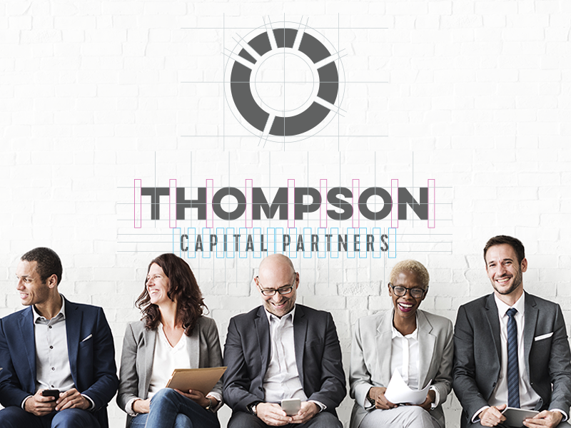 Thompson Capital Partners clean minimal corporate financial identity branding graphic design logo