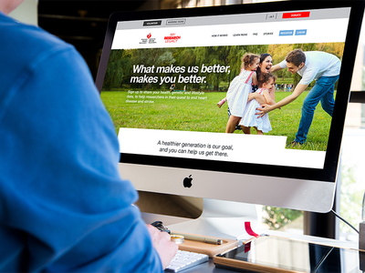 American Heart Association Landing Page redesign desktop mobile wireframe process web branding digital page landing redesign