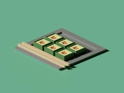 sushi design blender 3d rendering illustraion 3dillustration blender
