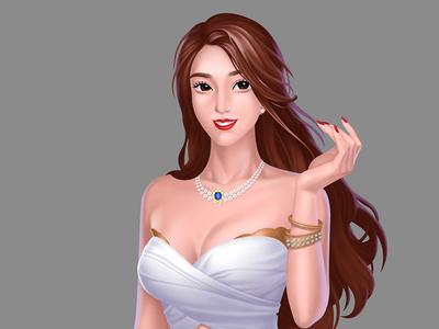 Casino/Slot game girl character
