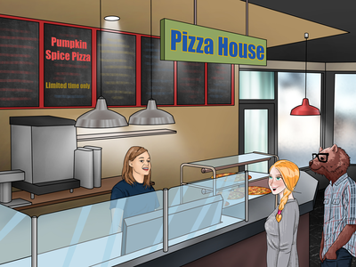 Children book illustration (Pizza House)