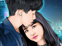 Vector art work for boy and girl