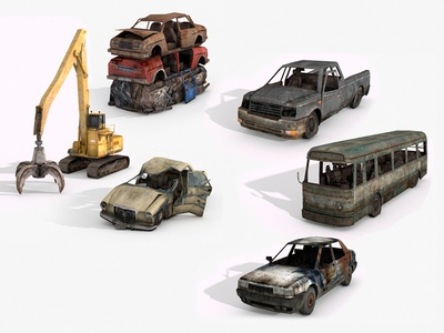 Junkyard Lowpoly 3D Models