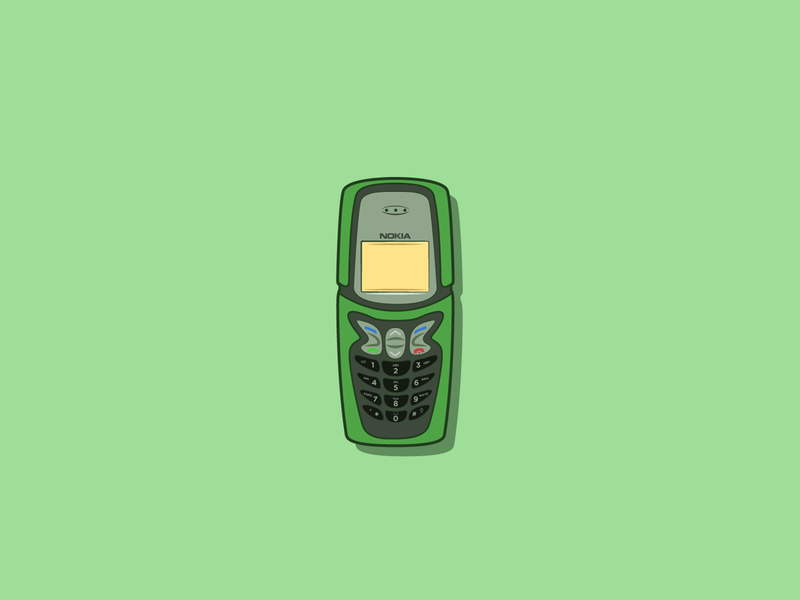 Nokia 5210 digital green vector 2d art illustration line art 2d 5210 tech retro old school old skool nostalgia vintage tech mobile phone nokia
