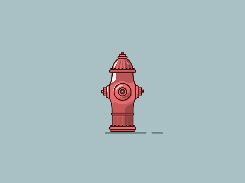 Fire Hydrant 2d vector line art illustration red fire hydrant fire