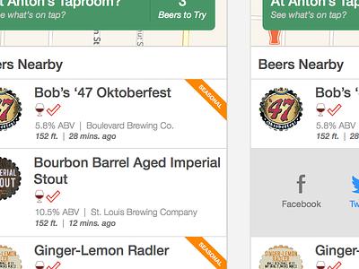 Beers Nearby beer ios app typography mobile craft beer ui