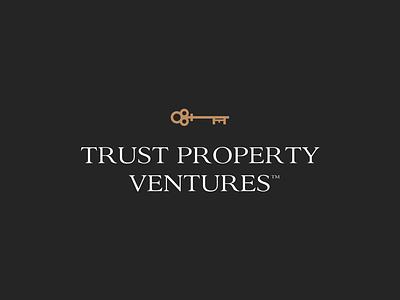 Trust Property Ventures brand modern real estate realtor property trust key simple design logos logo