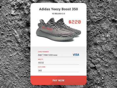 Daily UI 002 ui checkout page shoes adidas yeezy