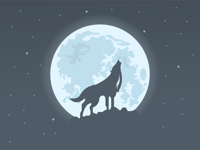 One With The Moon stars moon art illustration wolf