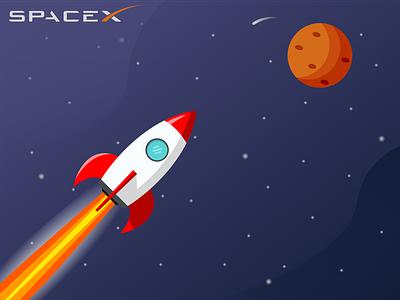 Space X design illustration rocket spacex mars space art