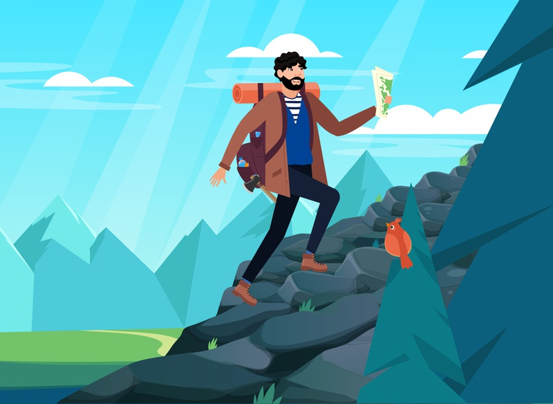 Man with backpack, traveller or explorer walking up of mountain concept icon gps adventure character background tourist design vector graphic vacation cartoon backpack tourism summer trip travel forest mountain man