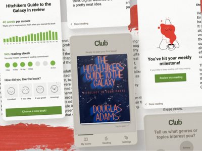 Club Reading App Concept mobile reading app ui product design