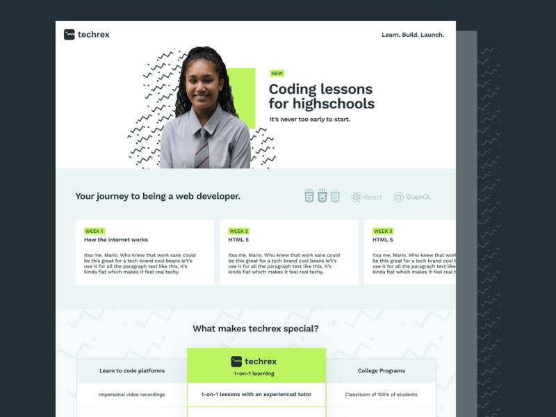 Techrex Schools Page dinosaur ui website coding