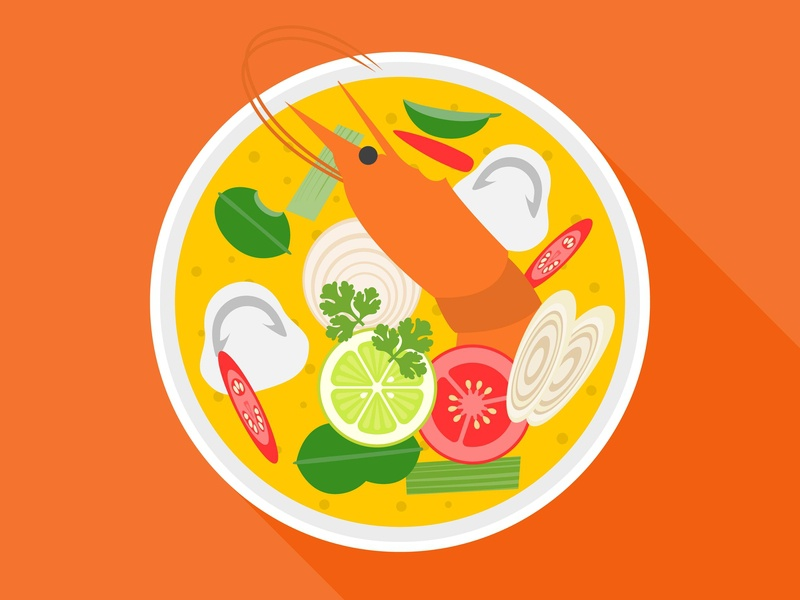 Thai spicy soup with shrimp (TOM YUM GOONG) tom yum goong spicy soup website thai vector thailand illustration food and drink food flat design flat dishes design cuisine
