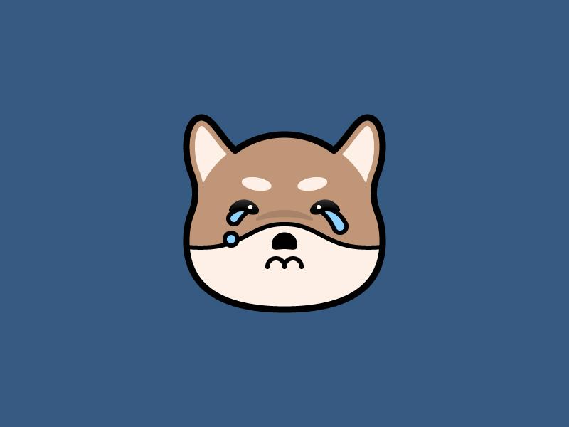 Why? teardrop crying cry pet head avatar flat design filled lineal icon icon shiba cute kawaii emoticon emoji dog