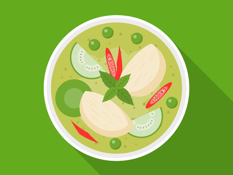 Green curry with chicken : Thai cuisine bangkok food vector illustration flat design cuisine dishes asian local chicken green curry thailand thai