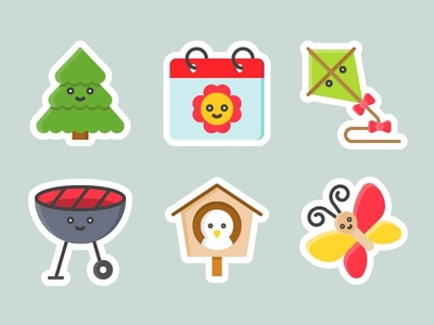 Free sticker of Cute spring