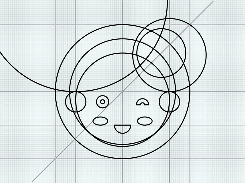 Hello world geometric character design lineal line display head girl cartoon character cartoon avatar icon cute vector flat design