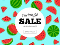 Free Summer Sale With Watermelon Banner