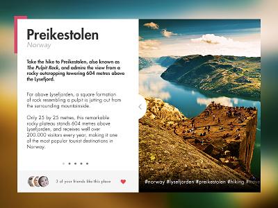 Day 012 // Location Card network ux ui card location preikestolen norway