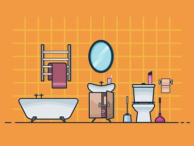 The bathroom mirror towel sink bathtub illustration flat bathroom toilet