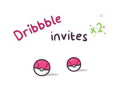 Dribbble invites x 2 dribbble ticket entry pokemon pokeball draft invitations invites
