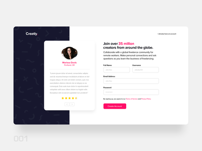 Sign Up Page - #DailyUI 001