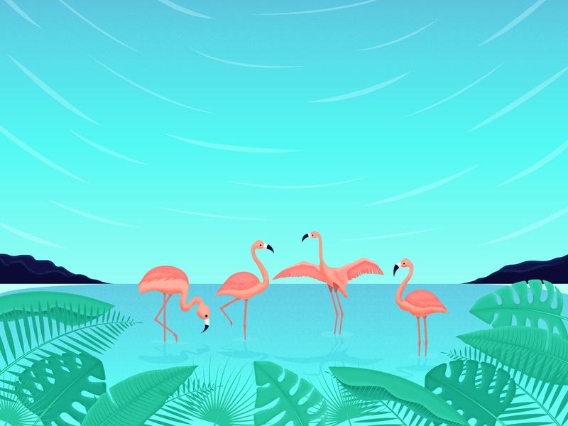 Flamingo scenery beach tropical leaves concept texture brush design gradient illustration vector landscape tropical leaf flamingo