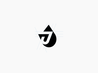 J Logo Drop mark logo design