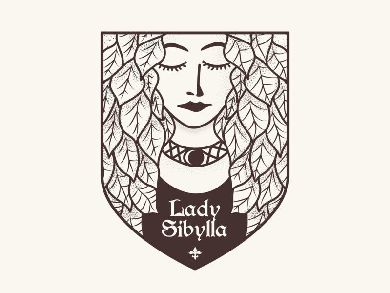 Lady Sibylla vintage logo vintage flatdesign brand identity design fairy epic medieval logotype designer logotype design logotypedesign logotypes logo design logodesign logotype logos logo nature illustration nature logo nature