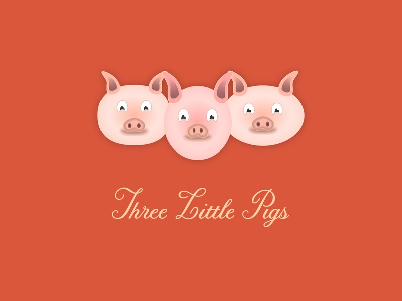 Three Little Pigs pig pigs restaurant food icon typography 100dayproject logo branding illustrator adobe illustrator adobe illustration design