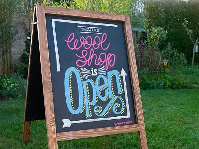 The Little Wool Shop A Board sign hand lettering chalkboard chalk