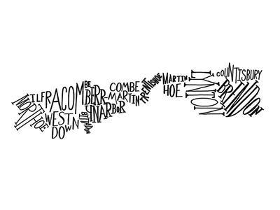 Devon hand lettered map