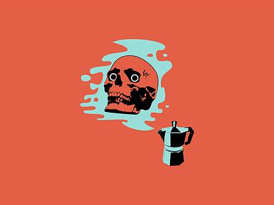 I Am Become Coffee work in progress for fun graphic design wip espresso mokapot coffee skull design illustration
