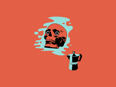 I Am Become Coffee work in progress for fun graphic design wip espresso mokapot coffee skull design illustration