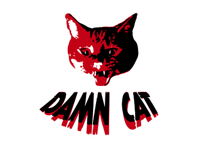 Damn Cat fun logo cat
