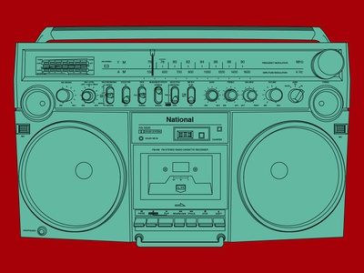 Panasonic RX-5500 boom box pop art panasonic stereo boombox music vector graphic illustration design graphic design