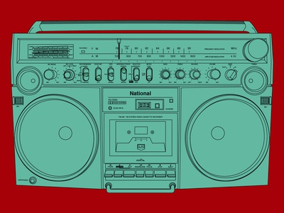 Panasonic RX-5500 boom box pop art panasonic stereo boombox music vector graphic illustration design graphic design