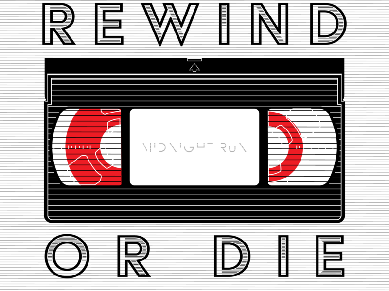 REWIND OR DIE vhs typography vector graphic illustration design graphic design